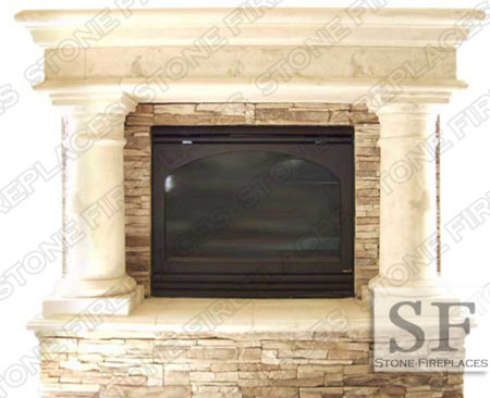 Rustic Column Fireplace Surround