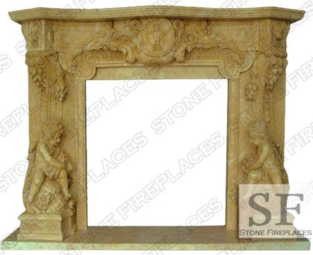 Angel Cherubim Marble Fireplace Mantel