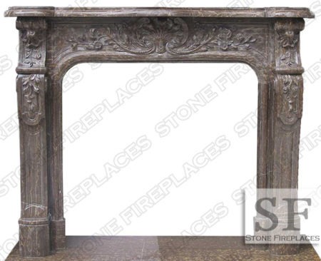 Bella Vista Brown Marble Floral Fireplace