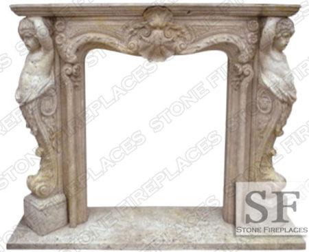 Cherubim Carved Fireplace Mantel