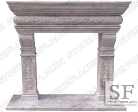 Columbus White Marble Fireplace Mantel