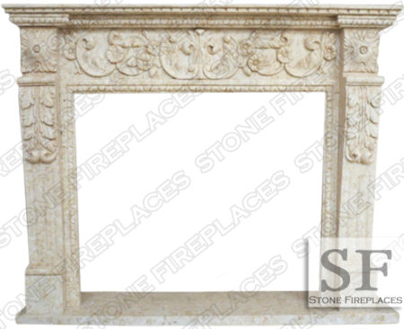 Grand Floral Marble Fireplace Mantel