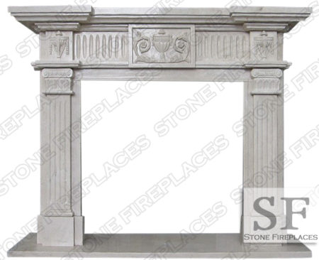 Italian Antique Marble Fireplace Mantel