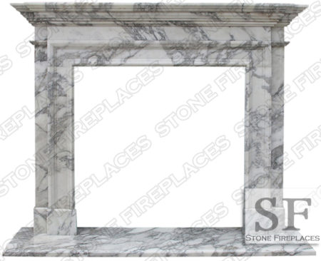 Traditional 2 Arabescato Marble Fireplace Mantel
