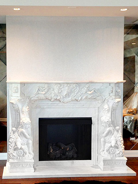 Marble fireplace mantels and cast stone fireplaces on SALE in stock! Custom fireplaces in style and size. Styles ranging from traditional French to modern contemporary. Beautiful Italian marble surrounds.