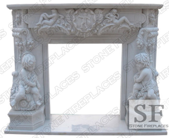 White Marble Fireplace, White Mantel, French, Angel Cherubim