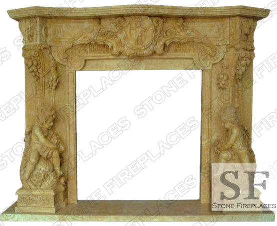 Marble Fireplace Mantel, Angel Cherubim, Statue Marble Fireplaces Surround