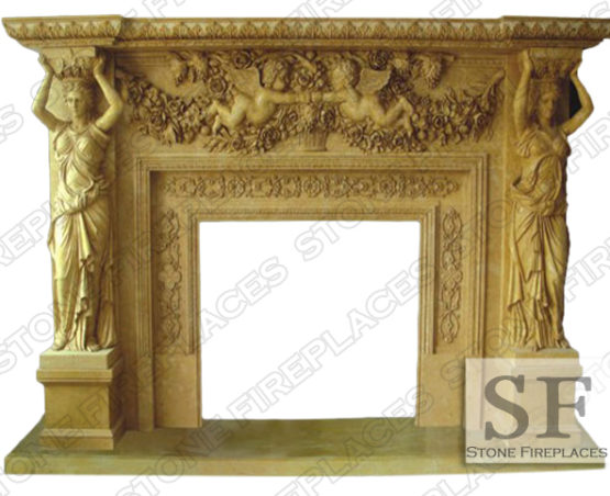 Angelique Marble Statue Fireplace Mantel