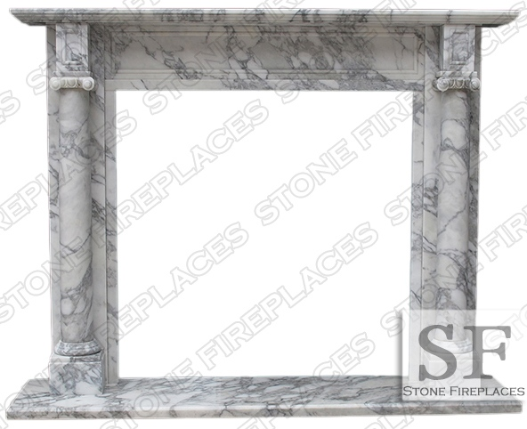 White Marble Mantel, Carrara Marble Fireplace, Barrington, Italian