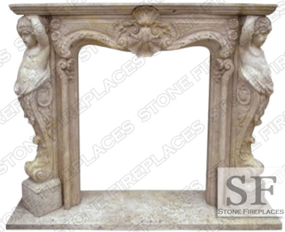 Cherubim Carved Fireplace Mantel
