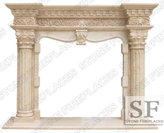 Marble Fireplace, Grand Richmond, Marble Column Fireplace, VA Fireplaces
