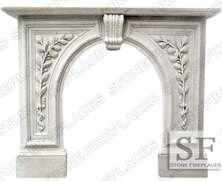 Greenwich White Marble Arched Mantel