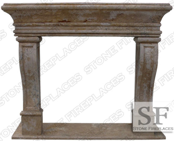 French Fireplace Surround, Travertine Mantel, Rustic, Leon