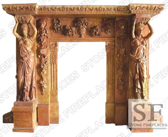 Statue Marble Fireplace Mantel