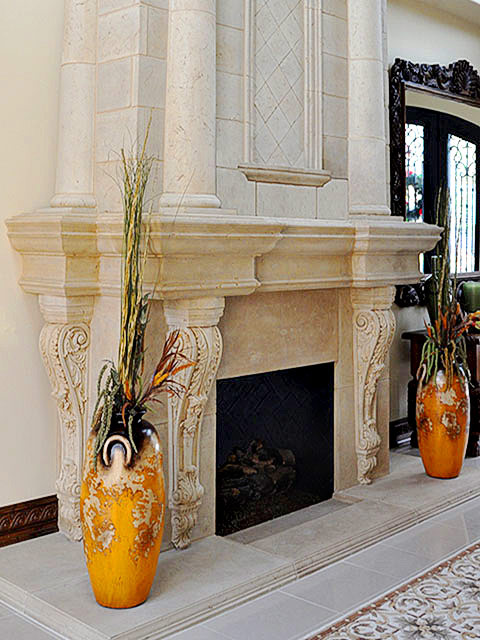 Cast stone overmantel fireplace